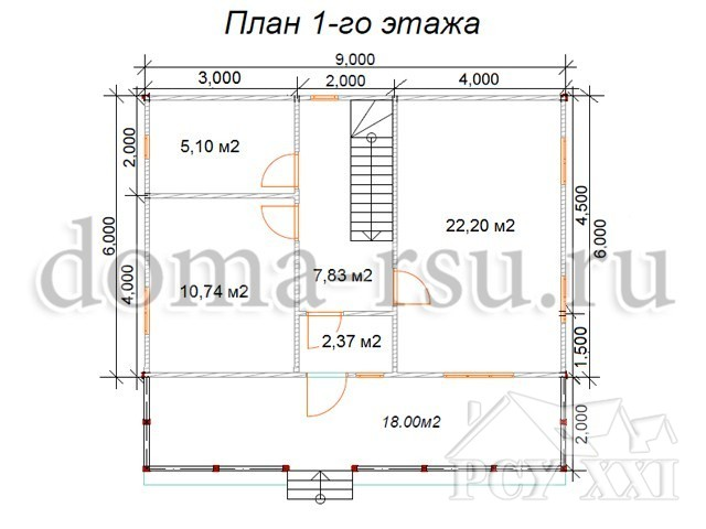 Проект каркасного дома КД080