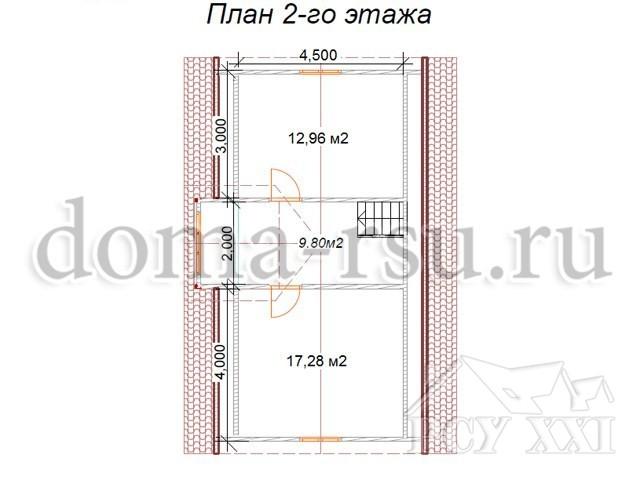 Проект каркасного дома КД100